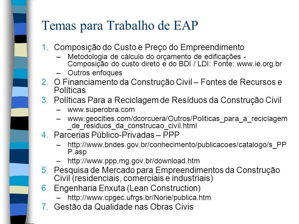 Temas para Trabalho de EAP 1.Composição do Custo e Preço do Empreendimento –Metodologia de cálculo do orçamento de edificações - Composição do custo d
