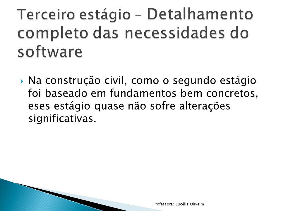 Na construção civil, como o segundo estágio foi baseado em fundamentos bem concretos, eses estágio quase não sofre alterações significativas. Professo