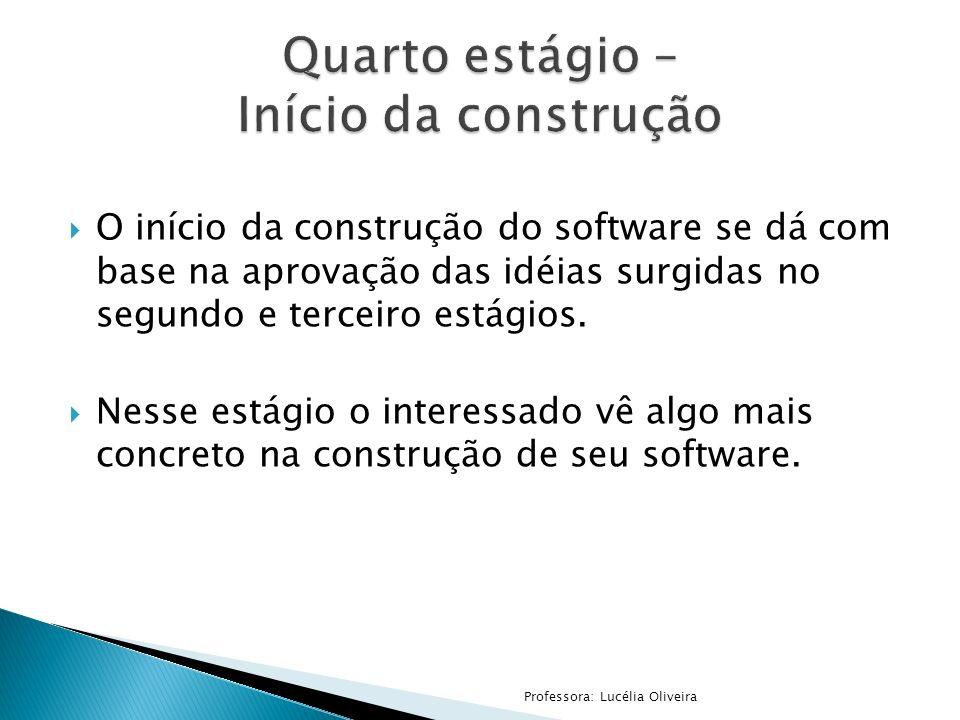 O início da construção do software se dá com base na aprovação das idéias surgidas no segundo e terceiro estágios. Nesse estágio o interessado vê algo