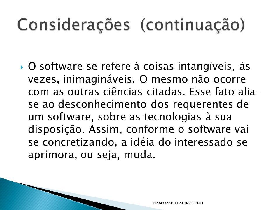 O software se refere à coisas intangíveis, às vezes, inimagináveis. O mesmo não ocorre com as outras ciências citadas. Esse fato alia- se ao desconhec