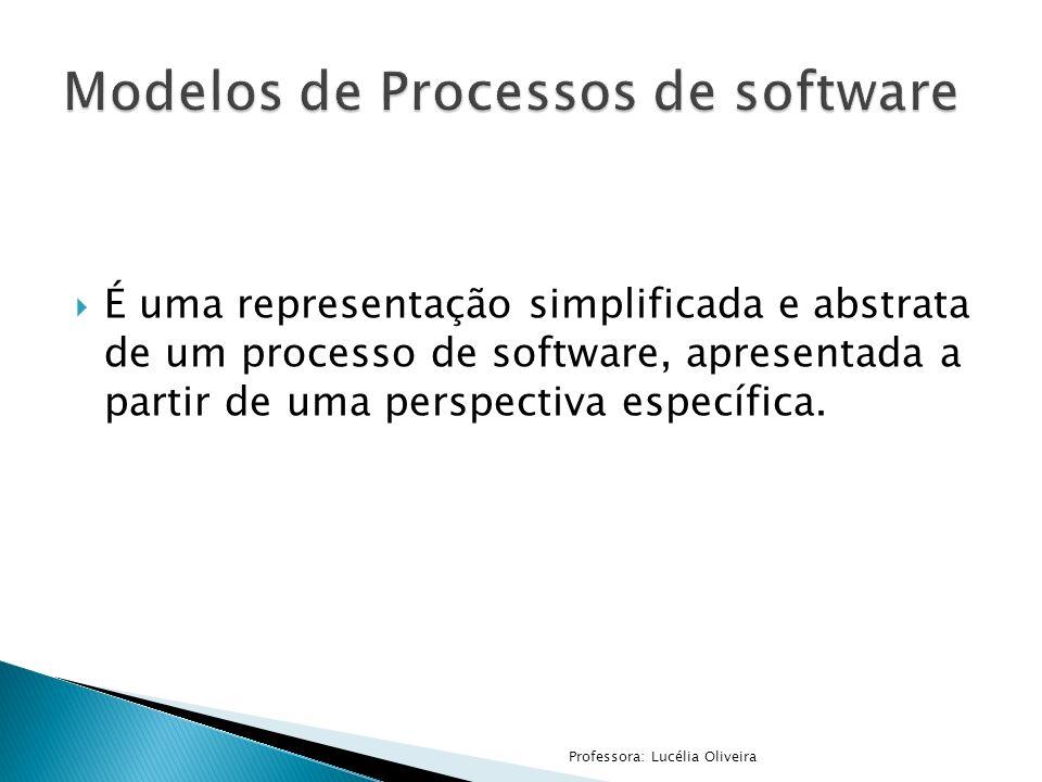 É uma representação simplificada e abstrata de um processo de software, apresentada a partir de uma perspectiva específica. Professora: Lucélia Olivei