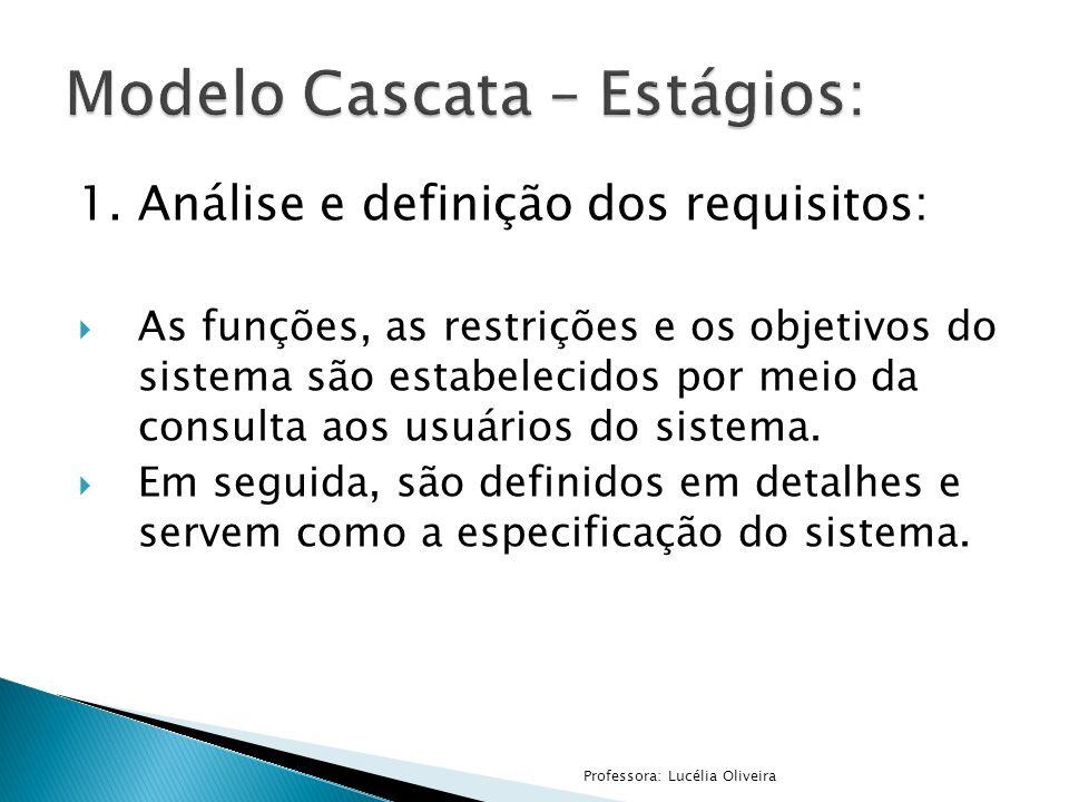 1.Análise e definição dos requisitos: As funções, as restrições e os objetivos do sistema são estabelecidos por meio da consulta aos usuários do siste
