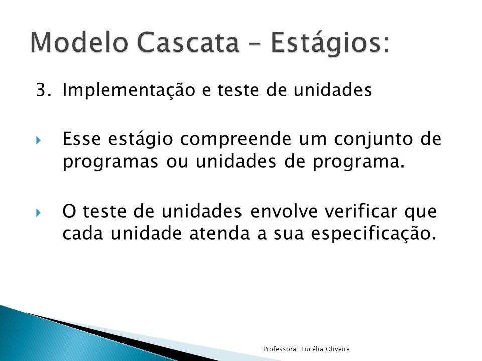 3.Implementação e teste de unidades Esse estágio compreende um conjunto de programas ou unidades de programa. O teste de unidades envolve verificar qu