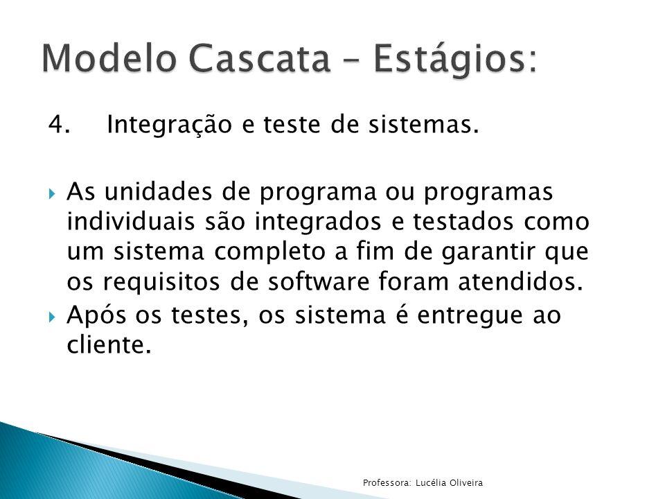 4.Integração e teste de sistemas. As unidades de programa ou programas individuais são integrados e testados como um sistema completo a fim de garanti