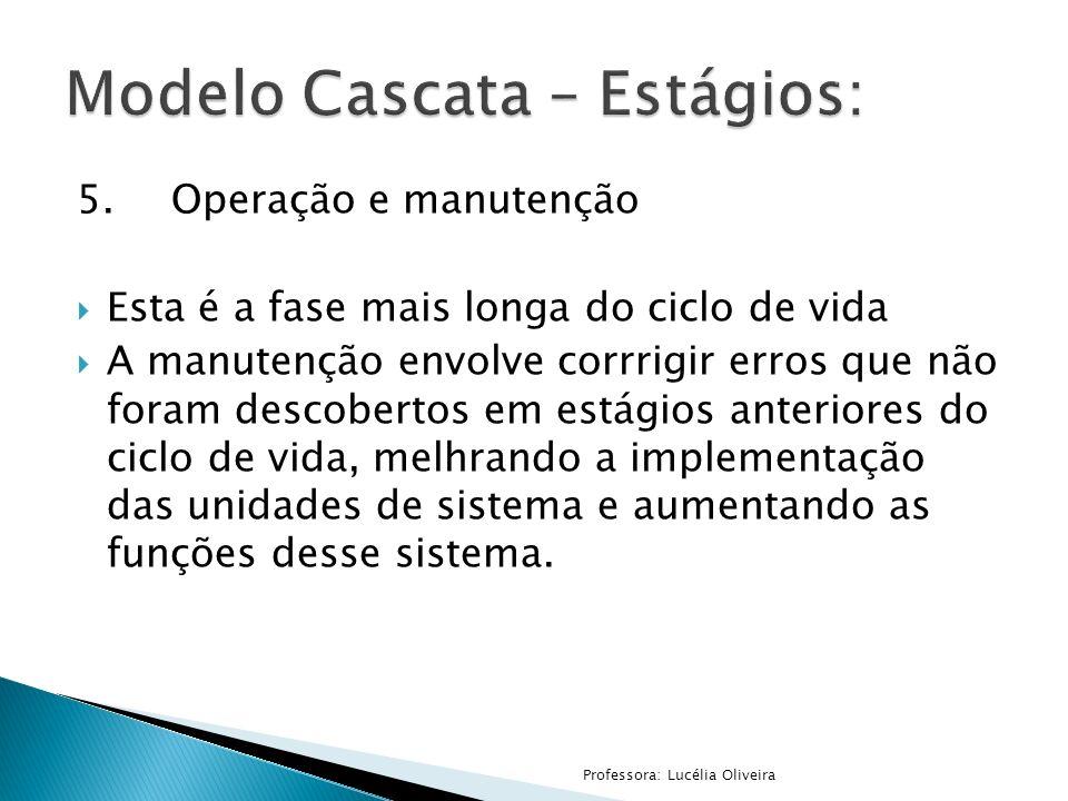 5.Operação e manutenção Esta é a fase mais longa do ciclo de vida A manutenção envolve corrrigir erros que não foram descobertos em estágios anteriore