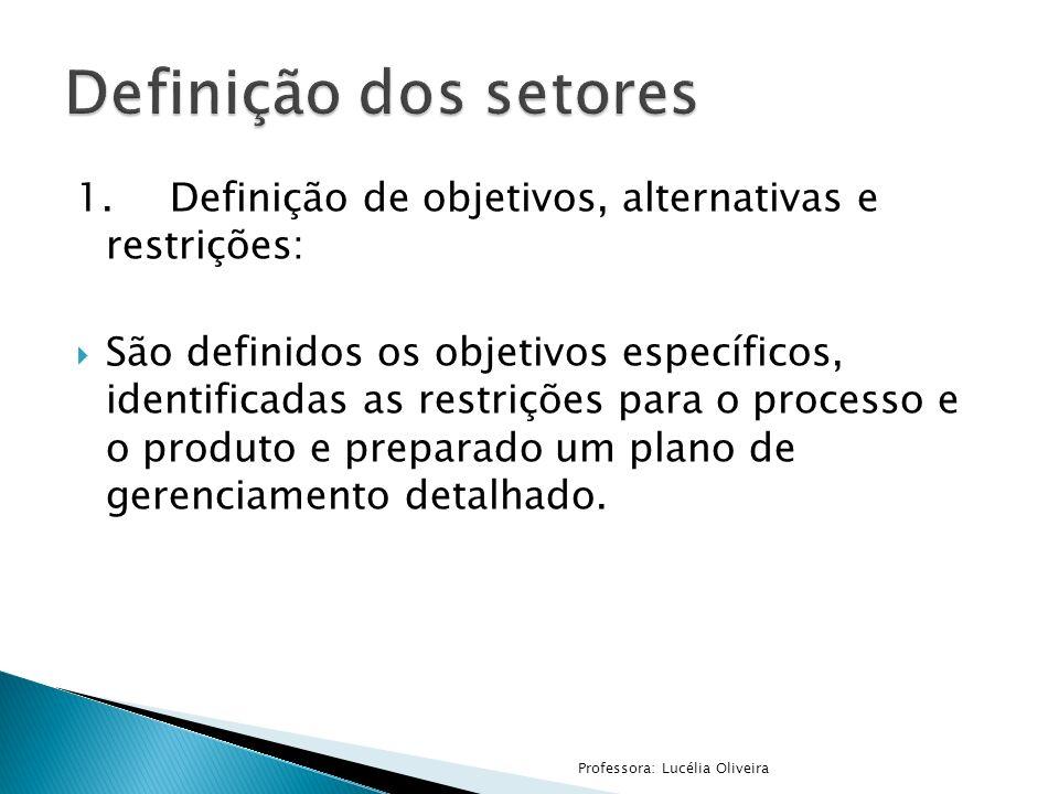 1.Definição de objetivos, alternativas e restrições: São definidos os objetivos específicos, identificadas as restrições para o processo e o produto e