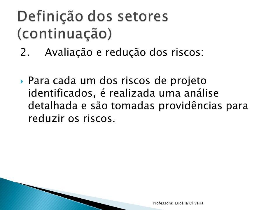 2.Avaliação e redução dos riscos: Para cada um dos riscos de projeto identificados, é realizada uma análise detalhada e são tomadas providências para