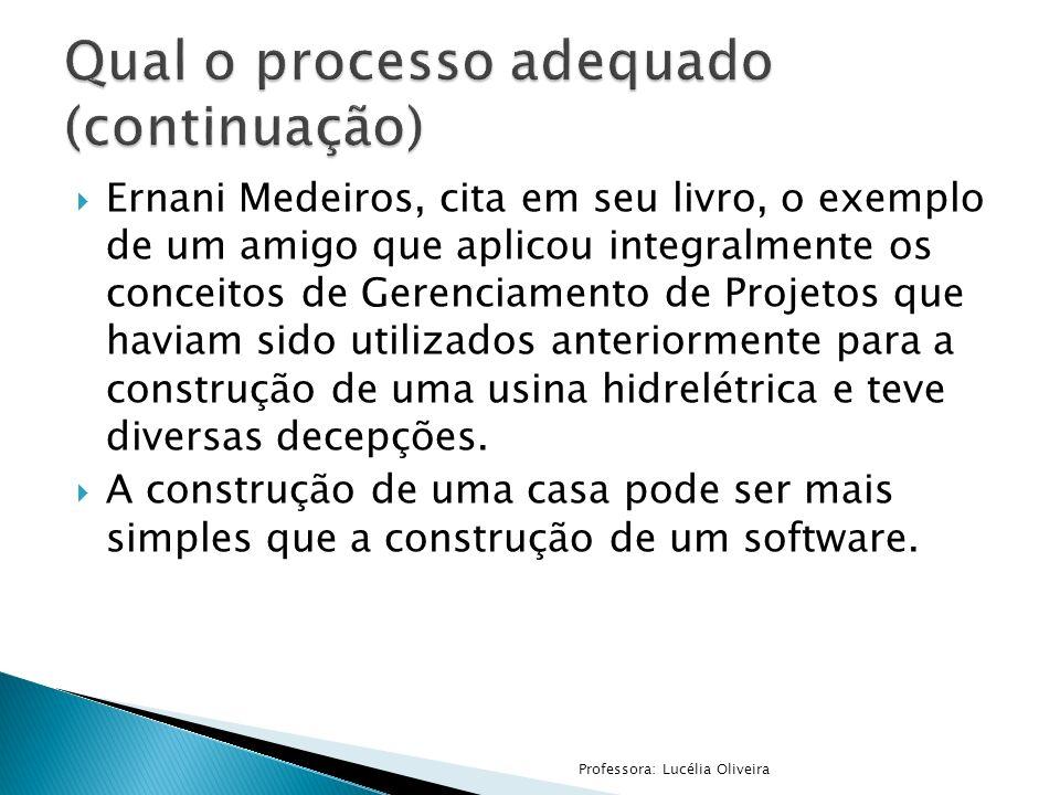 Ernani Medeiros, cita em seu livro, o exemplo de um amigo que aplicou integralmente os conceitos de Gerenciamento de Projetos que haviam sido utilizad