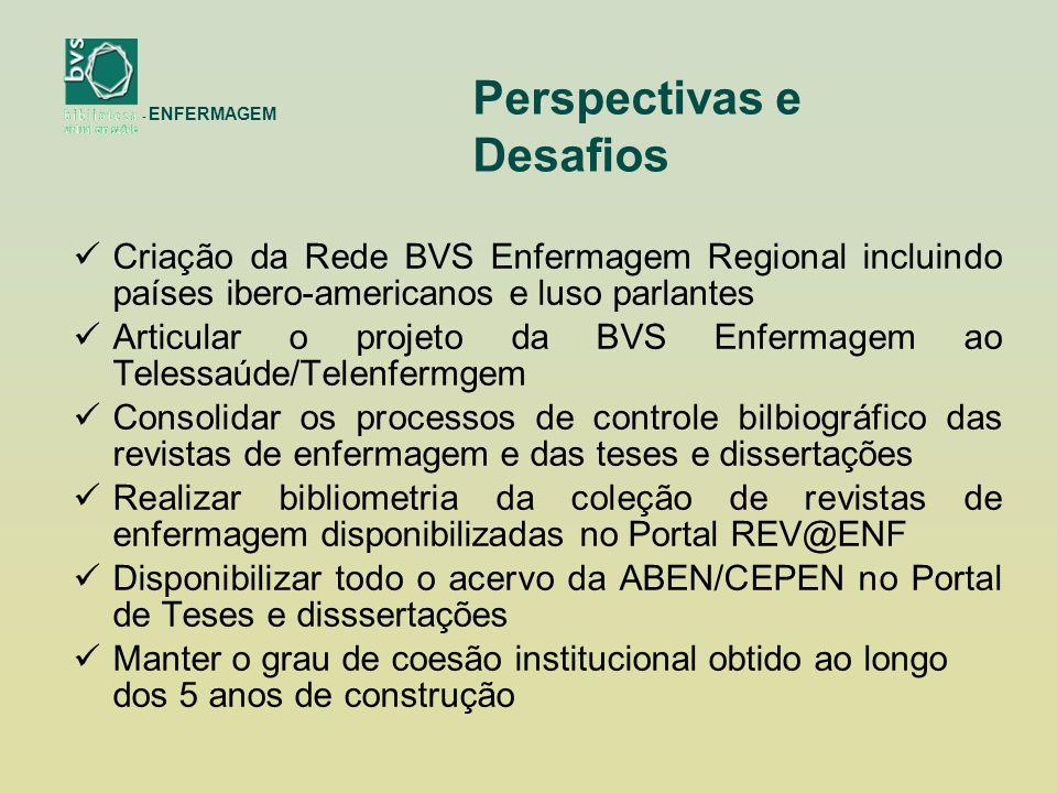 Criação da Rede BVS Enfermagem Regional incluindo países ibero-americanos e luso parlantes Articular o projeto da BVS Enfermagem ao Telessaúde/Telenfermgem Consolidar os processos de controle bilbiográfico das revistas de enfermagem e das teses e dissertações Realizar bibliometria da coleção de revistas de enfermagem disponibilizadas no Portal REV@ENF Disponibilizar todo o acervo da ABEN/CEPEN no Portal de Teses e disssertações Manter o grau de coesão institucional obtido ao longo dos 5 anos de construção - ENFERMAGEM Perspectivas e Desafios