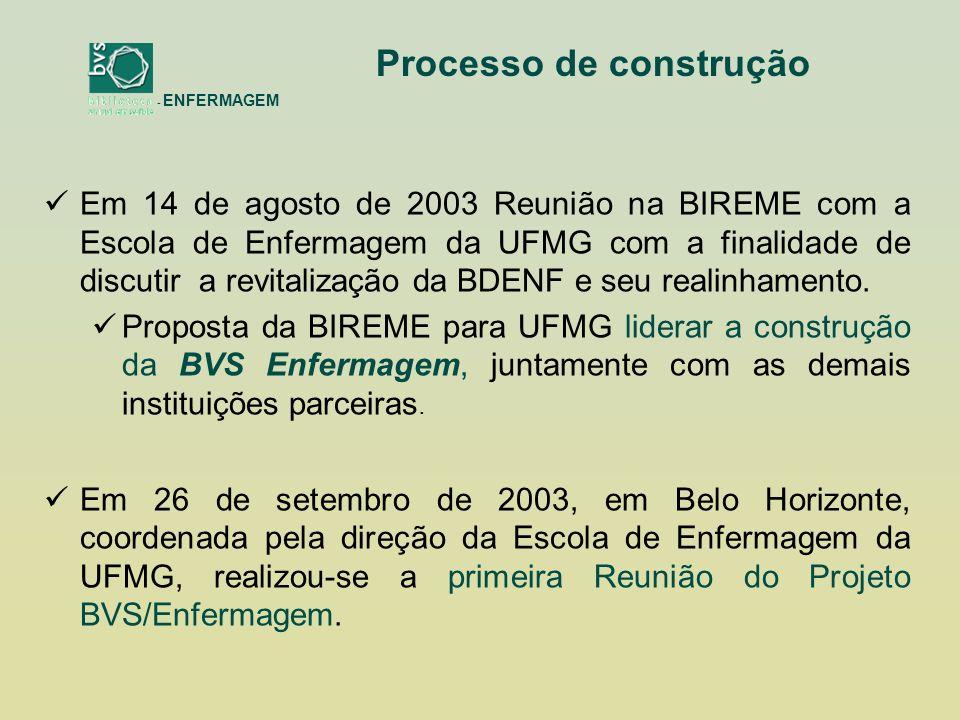 Instituições lideres do projeto passam a se reunir nos eventos nacionais da área visando ao desenvolvimento de ações para o desenho, configurações e estabelecimento de estratégias para a construção da Biblioteca Virtual em Enfermagem: 55º Congresso Brasileiro de Enfermagem - Rio de Janeiro/2003 estabelecimento das parcerias nacionais 12º Seminário Nacional de Pesquisa em Enfermagem - SENPE realizado em 2004- São Luís/MA – Inclusão da BVS na Agenda de Pesquisa da Enfermagem Brasileira da ABEN 56º Congresso Brasileiro de Enfermagem - Gramado/RS/2004 Reunião com a Área de Enfermagem da CAPES e Coordenadores de Programas de Pós-Graduação, Instituição do Comitê Consultivo Provisório e definição do cronograma de implantação IV BVS REGIONAIS (IX ICML) - Salvador/BA/setembro de 2005 - apresentação da proposta BVS Enfermagem Brasil no evento 57º Congresso Brasileiro de Enfermagem Goiânia/GO/ novembro de 2005.