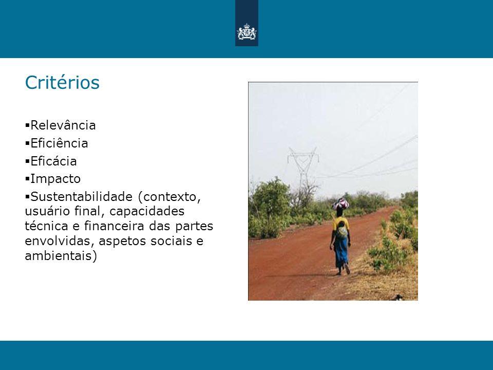 Critérios Relevância Eficiência Eficácia Impacto Sustentabilidade (contexto, usuário final, capacidades técnica e financeira das partes envolvidas, as