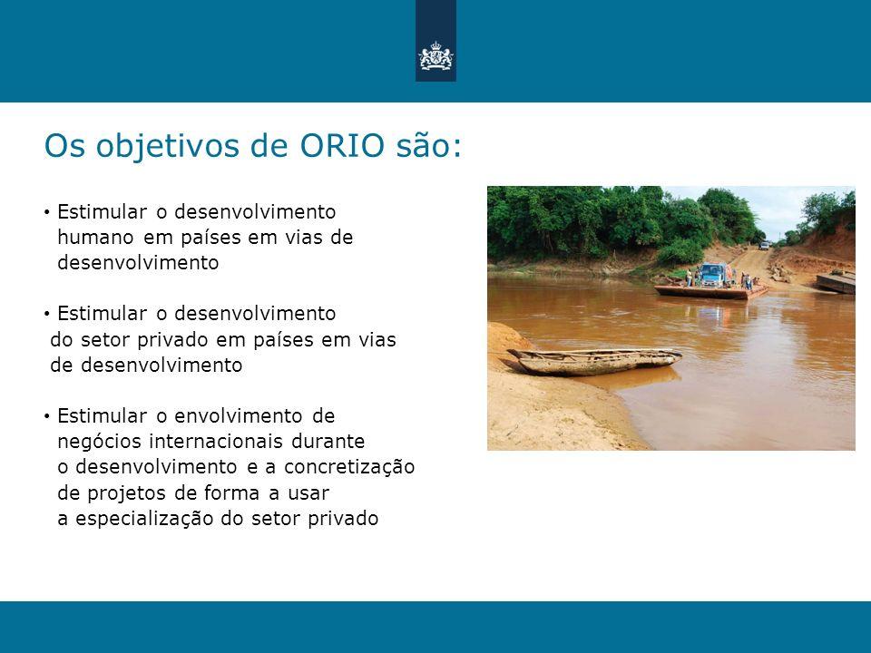 Os objetivos de ORIO são: Estimular o desenvolvimento humano em países em vias de desenvolvimento Estimular o desenvolvimento do setor privado em país