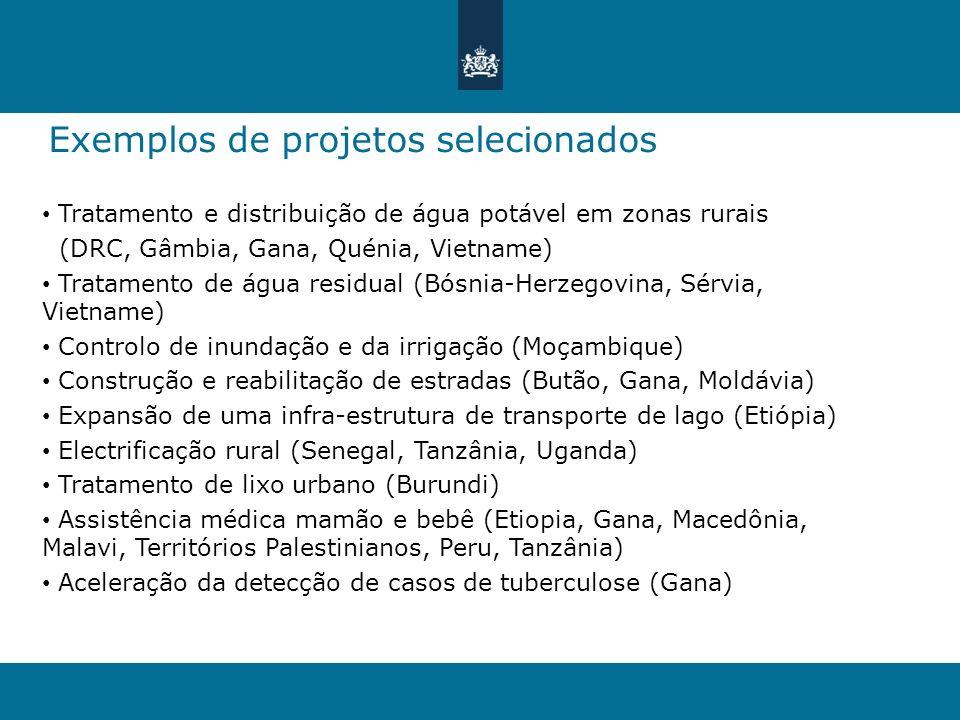 Exemplos de projetos selecionados Tratamento e distribuição de água potável em zonas rurais (DRC, Gâmbia, Gana, Quénia, Vietname) Tratamento de água r