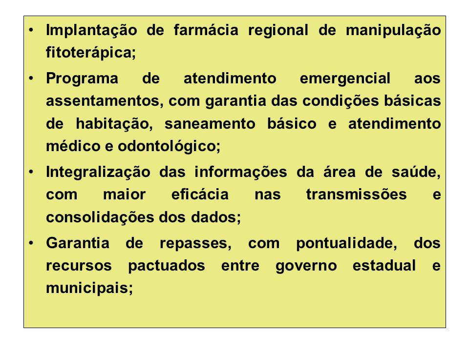 Implantação de farmácia regional de manipulação fitoterápica; Programa de atendimento emergencial aos assentamentos, com garantia das condições básica
