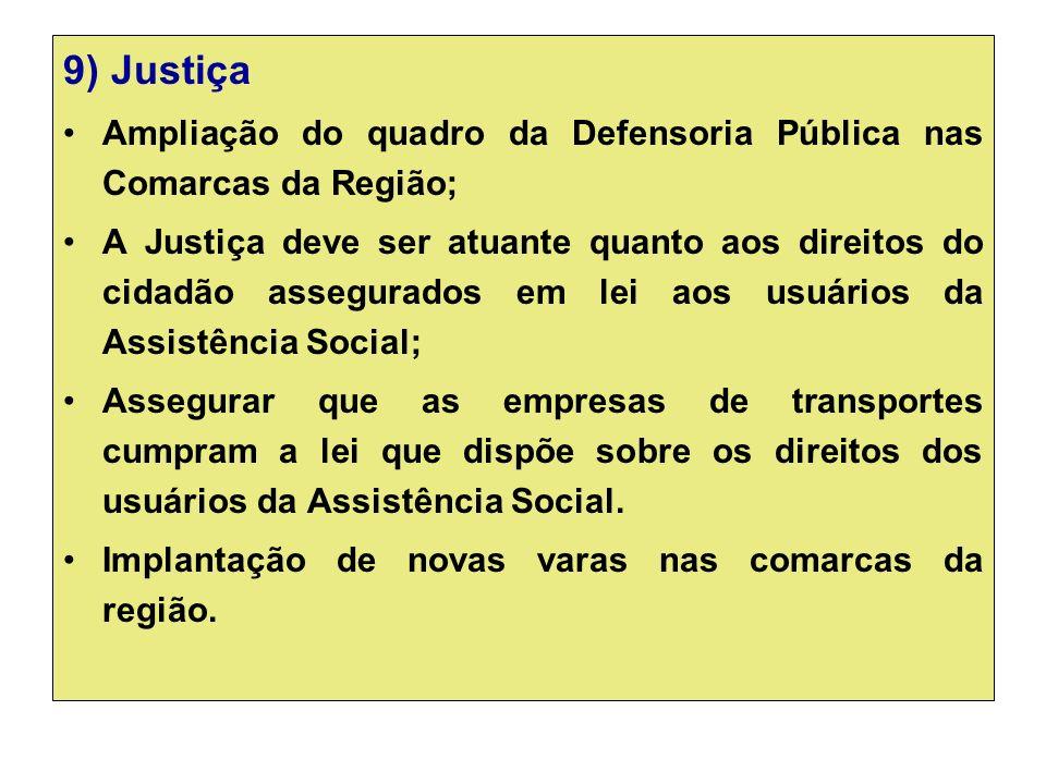 9) Justiça Ampliação do quadro da Defensoria Pública nas Comarcas da Região; A Justiça deve ser atuante quanto aos direitos do cidadão assegurados em