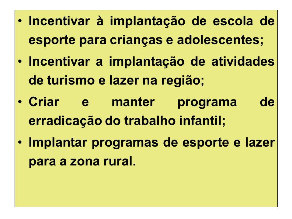 Incentivar à implantação de escola de esporte para crianças e adolescentes; Incentivar a implantação de atividades de turismo e lazer na região; Criar