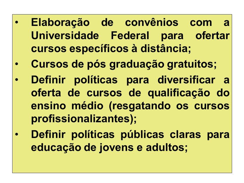 Elaboração de convênios com a Universidade Federal para ofertar cursos específicos à distância; Cursos de pós graduação gratuitos; Definir políticas p