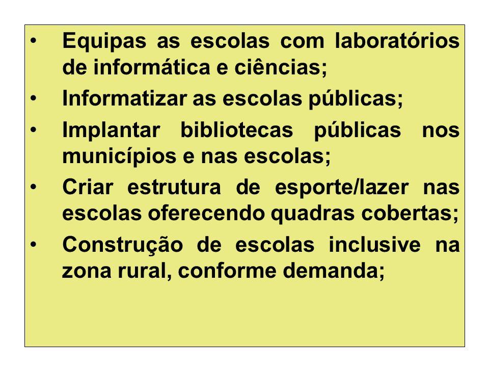 Equipas as escolas com laboratórios de informática e ciências; Informatizar as escolas públicas; Implantar bibliotecas públicas nos municípios e nas e