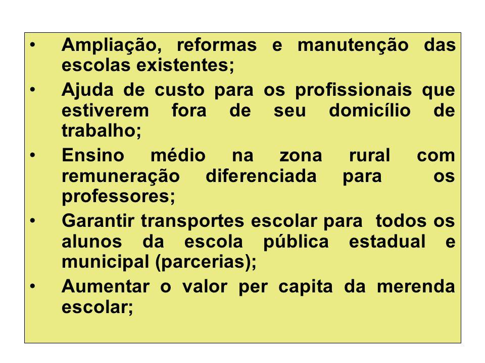 Ampliação, reformas e manutenção das escolas existentes; Ajuda de custo para os profissionais que estiverem fora de seu domicílio de trabalho; Ensino