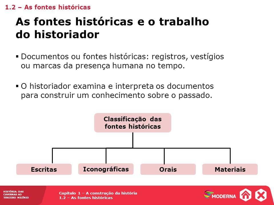 Capítulo 1 – A construção da história 1.2 – As fontes históricas HISTÓRIA: DAS CAVERNAS AO TERCEIRO MILÊNIO Documentos ou fontes históricas: registros