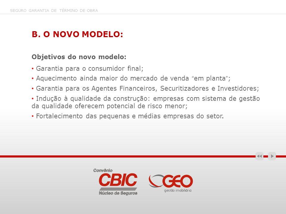 B. O NOVO MODELO: Objetivos do novo modelo: Garantia para o consumidor final; Aquecimento ainda maior do mercado de venda em planta; Garantia para os