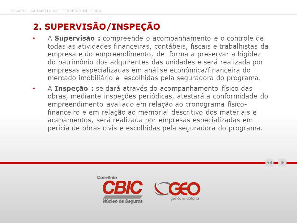 2. SUPERVISÃO/INSPEÇÃO A Supervisão : compreende o acompanhamento e o controle de todas as atividades financeiras, contábeis, fiscais e trabalhistas d