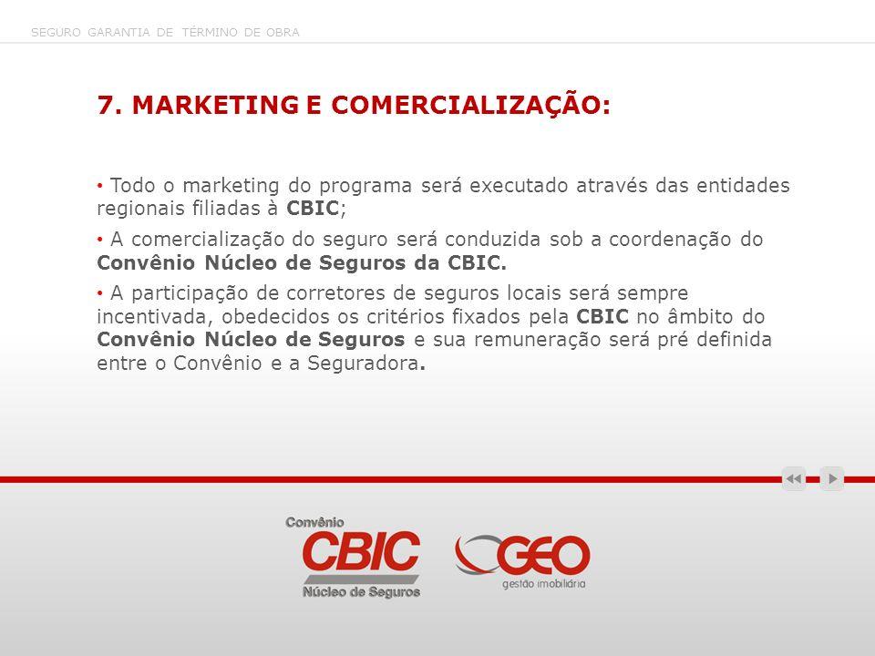 7. MARKETING E COMERCIALIZAÇÃO: Todo o marketing do programa será executado através das entidades regionais filiadas à CBIC; A comercialização do segu