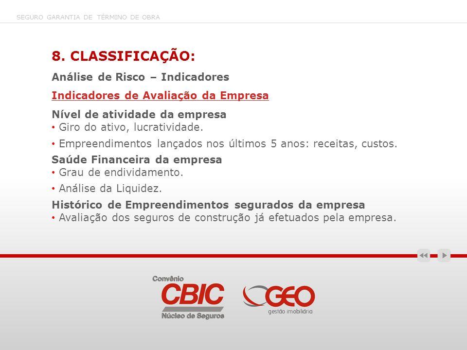 8. CLASSIFICAÇÃO: Análise de Risco – Indicadores Indicadores de Avaliação da Empresa Nível de atividade da empresa Giro do ativo, lucratividade. Empre