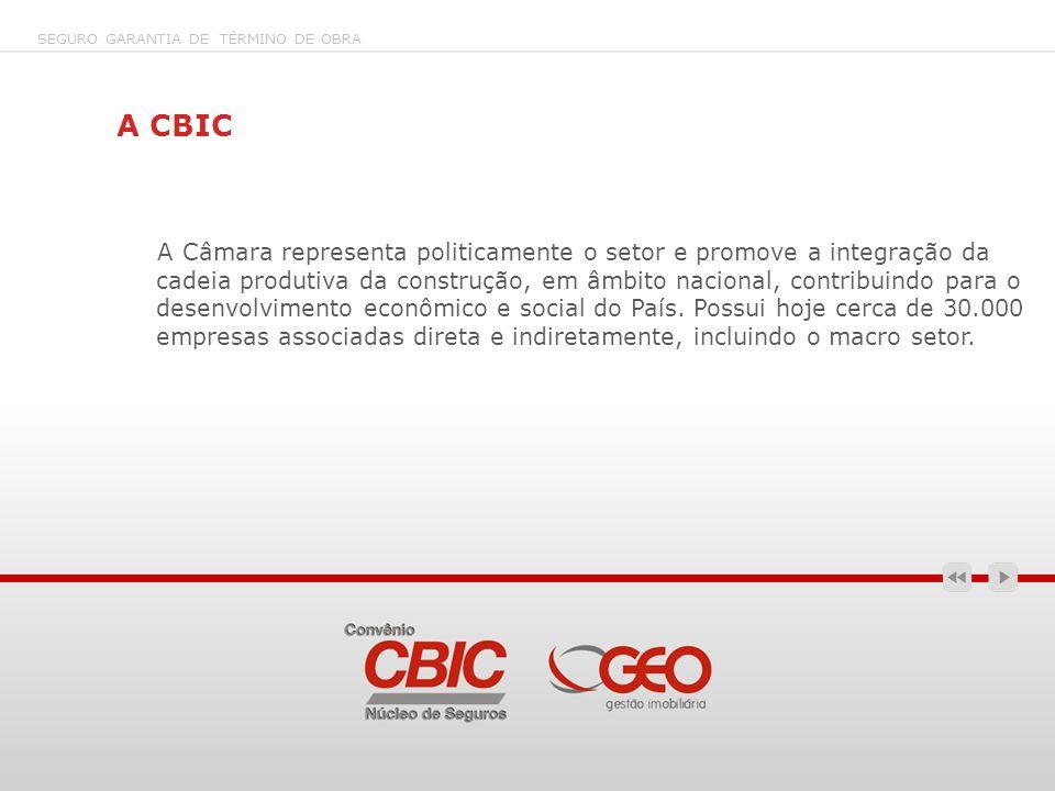 A CBIC A Câmara representa politicamente o setor e promove a integração da cadeia produtiva da construção, em âmbito nacional, contribuindo para o des