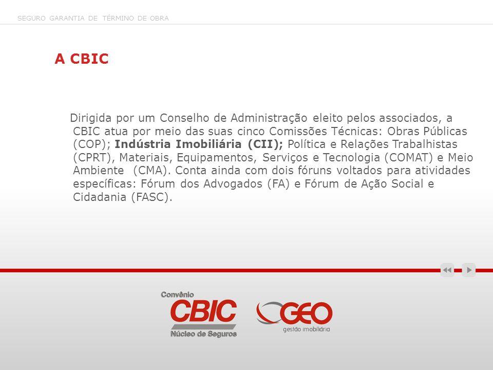 A CBIC Dirigida por um Conselho de Administração eleito pelos associados, a CBIC atua por meio das suas cinco Comissões Técnicas: Obras Públicas (COP)