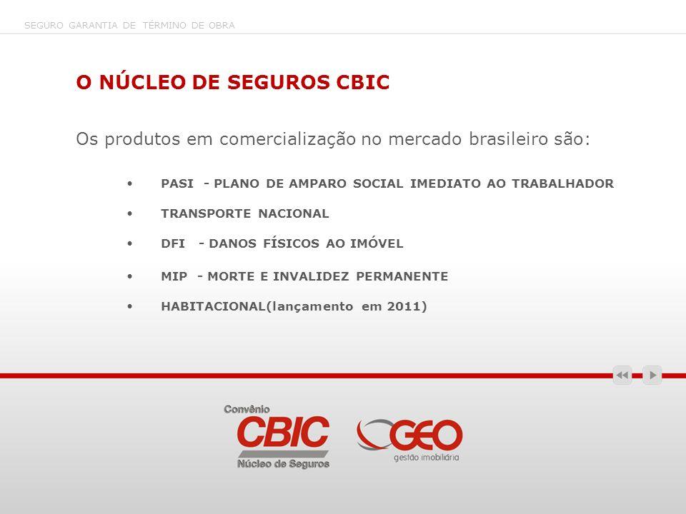 O NÚCLEO DE SEGUROS CBIC Os produtos em comercialização no mercado brasileiro são: PASI - PLANO DE AMPARO SOCIAL IMEDIATO AO TRABALHADOR TRANSPORTE NA