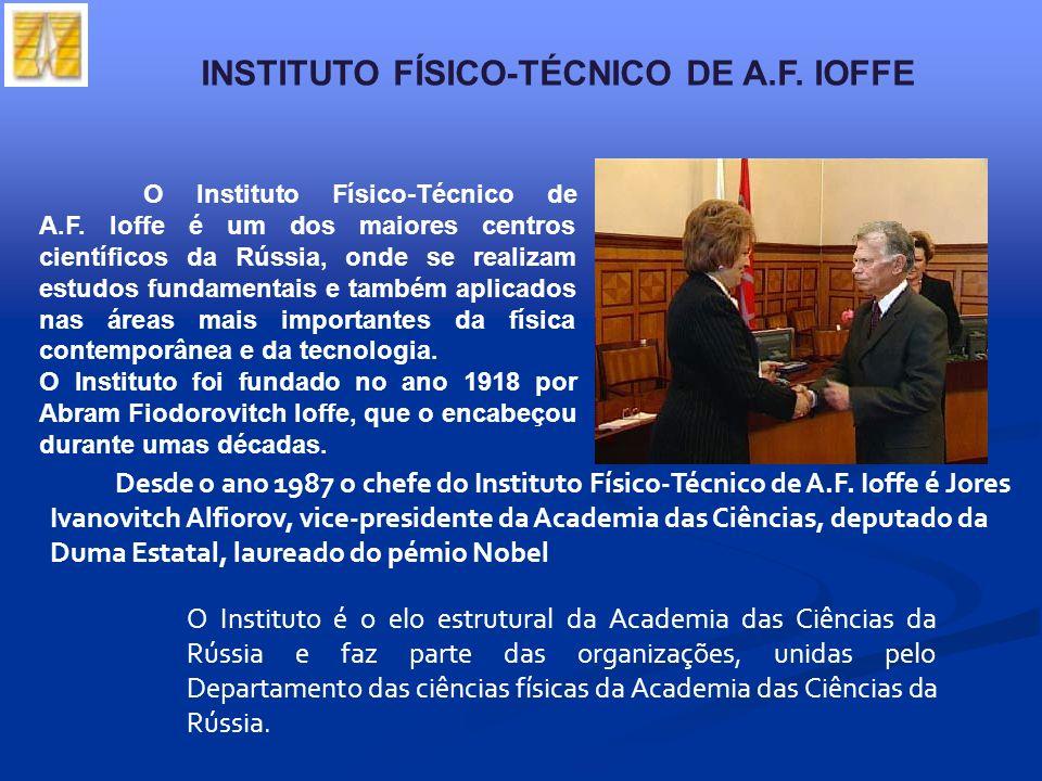 O Instituto Físico-Técnico de A.F. Ioffe é um dos maiores centros científicos da Rússia, onde se realizam estudos fundamentais e também aplicados nas