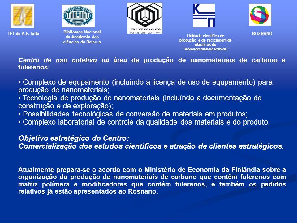 Centro de uso coletivo na área de produção de nanomateriais de carbono e fulerenos: Complexo de equpamento (incluíndo a licença de uso de equpamento)
