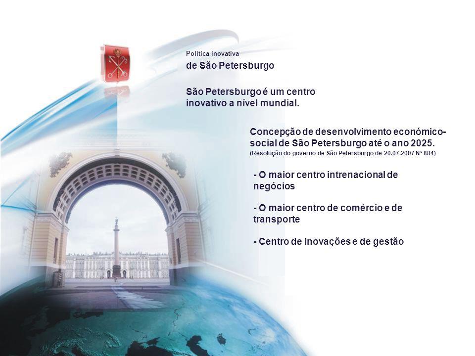 Política inovativa de São Petersburgo A prioriedade da política inovativa de São Petersburgo é a formação dos clasters competitivos.