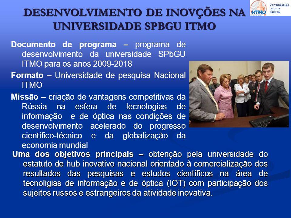 Uma dos objetivos principais – obtenção pela universidade do estatuto de hub inovativo nacional orientado à comercialização dos resultados das pesquis