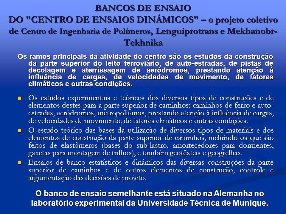 BANCOS DE ENSAIO DO
