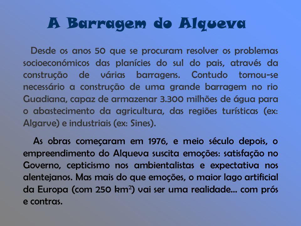 A Barragem do Alqueva Desde os anos 50 que se procuram resolver os problemas socioeconómicos das planícies do sul do pais, através da construção de várias barragens.