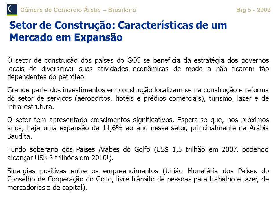 Câmara de Comércio Árabe – BrasileiraBig 5 - 2009 O setor de construção dos países do GCC se beneficia da estratégia dos governos locais de diversific