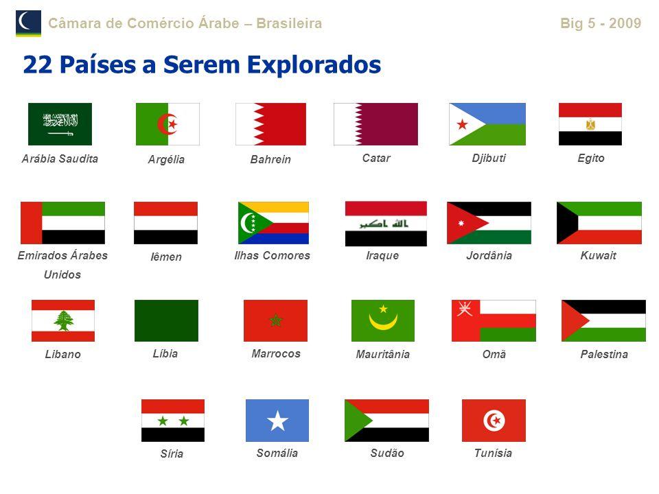 Câmara de Comércio Árabe – BrasileiraBig 5 - 2009 22 Países a Serem Explorados Arábia Saudita Argélia Bahrein DjibutiEgito Ilhas Comores Iraque Jordân
