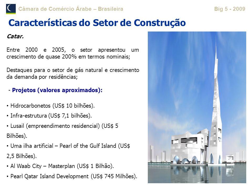 Câmara de Comércio Árabe – BrasileiraBig 5 - 2009 Catar. Entre 2000 e 2005, o setor apresentou um crescimento de quase 200% em termos nominais; Destaq