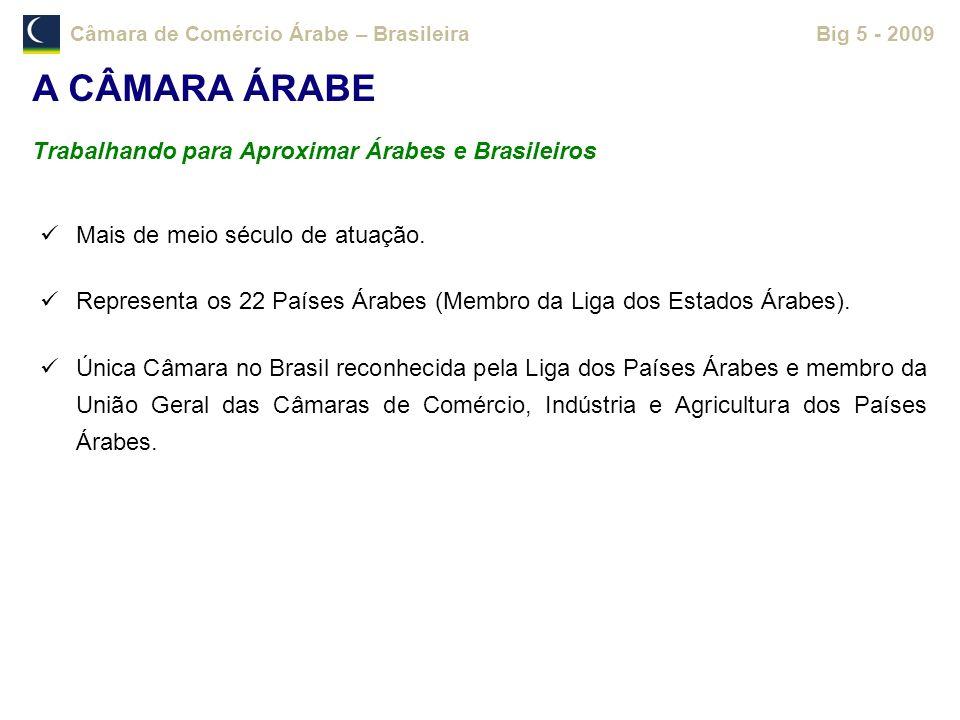 Câmara de Comércio Árabe – BrasileiraBig 5 - 2009 A CÂMARA ÁRABE Trabalhando para Aproximar Árabes e Brasileiros Mais de meio século de atuação. Repre