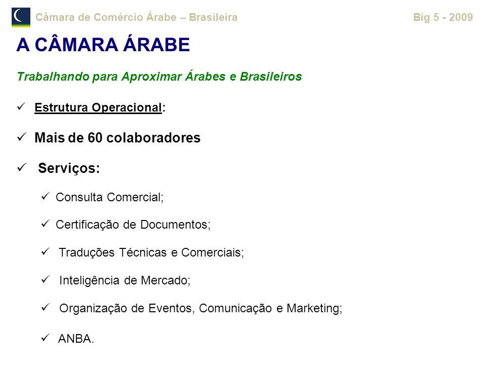 Câmara de Comércio Árabe – BrasileiraBig 5 - 2009 Estrutura Operacional: Mais de 60 colaboradores Serviços: Consulta Comercial; Certificação de Docume