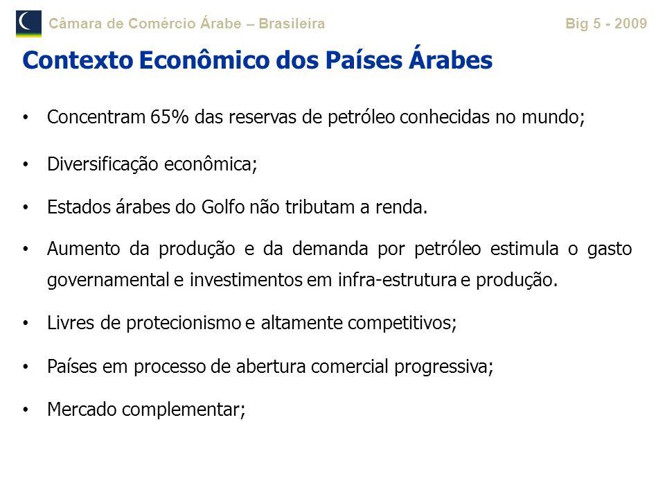 Câmara de Comércio Árabe – BrasileiraBig 5 - 2009 Concentram 65% das reservas de petróleo conhecidas no mundo; Diversificação econômica; Estados árabe