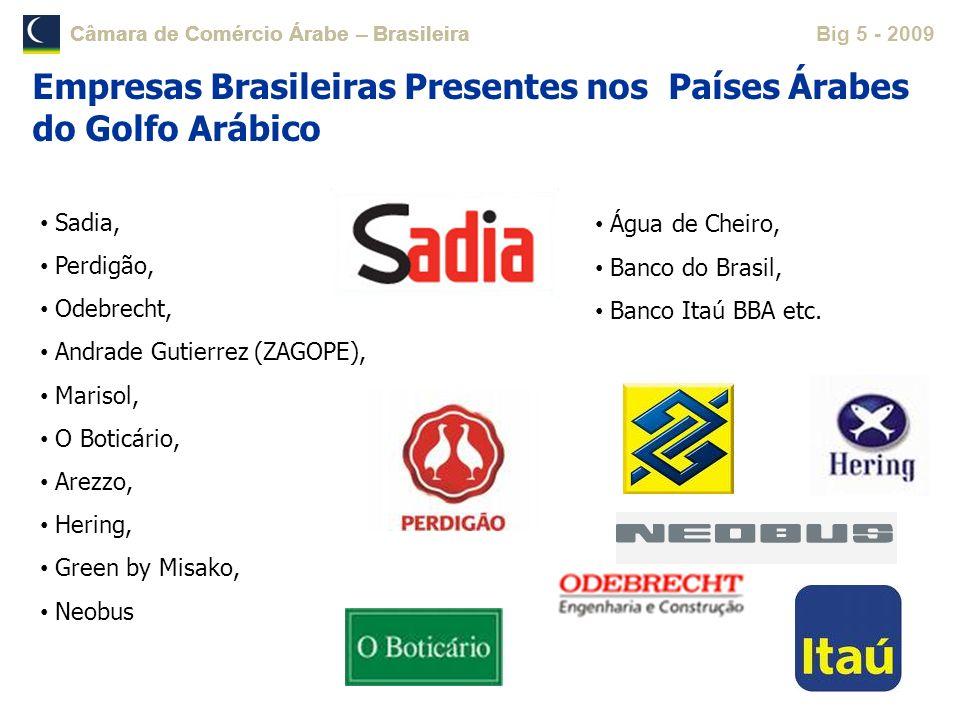 Câmara de Comércio Árabe – BrasileiraBig 5 - 2009 Estrutura Operacional: Mais de 60 colaboradores Serviços: Consulta Comercial; Certificação de Documentos; Traduções Técnicas e Comerciais; Inteligência de Mercado; Organização de Eventos, Comunicação e Marketing; ANBA.