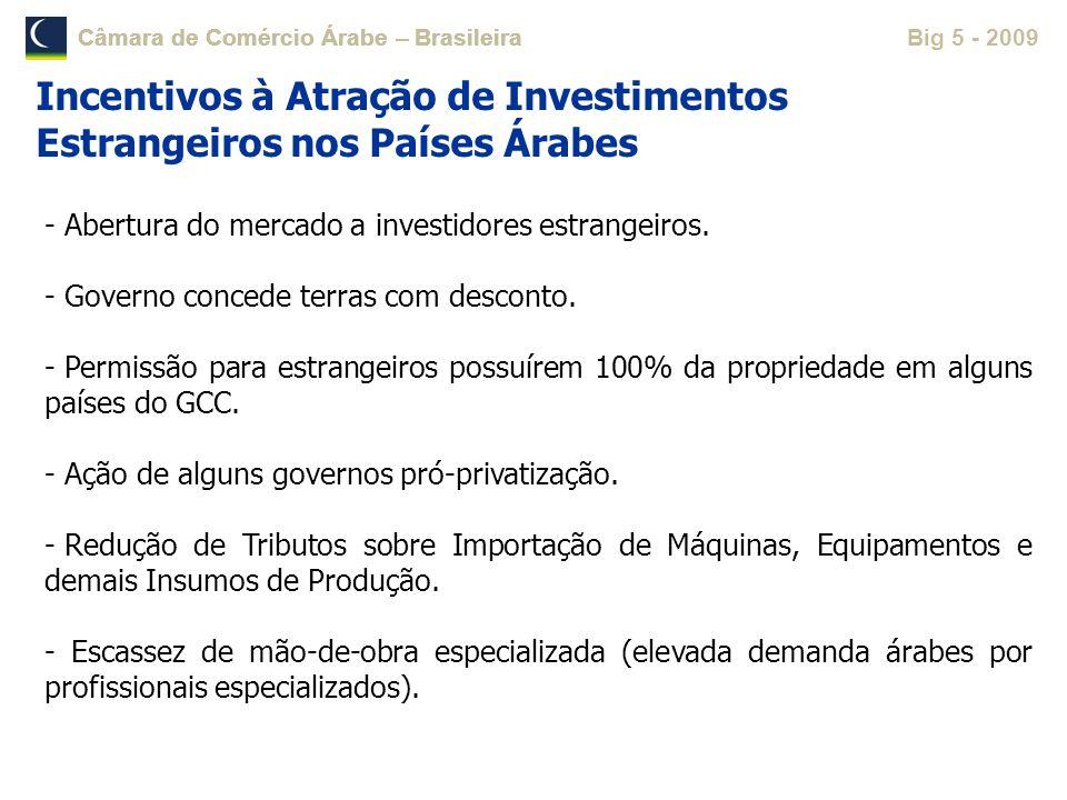 Câmara de Comércio Árabe – Brasileira Big 5 - 2009Câmara de Comércio Árabe – Brasileira - Abertura do mercado a investidores estrangeiros. - Governo c