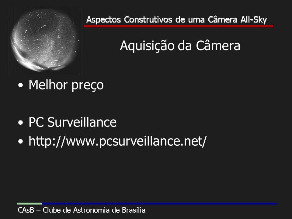 Aspectos Construtivos de uma Câmera All-Sky CAsB – Clube de Astronomia de Brasília Aspectos Construtivos de uma Câmera All-Sky Aquisição da Câmera Melhor preço PC Surveillance http://www.pcsurveillance.net/
