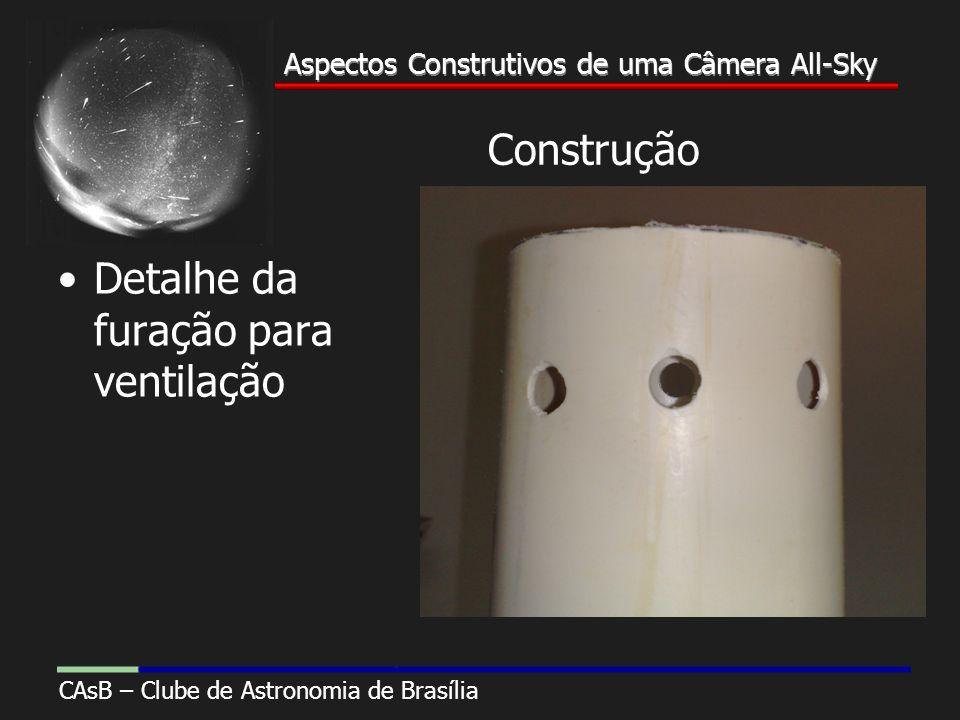 Aspectos Construtivos de uma Câmera All-Sky CAsB – Clube de Astronomia de Brasília Aspectos Construtivos de uma Câmera All-Sky Construção Detalhe da furação para ventilação