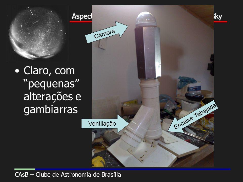 Aspectos Construtivos de uma Câmera All-Sky CAsB – Clube de Astronomia de Brasília Aspectos Construtivos de uma Câmera All-Sky Construção Claro, com pequenas alterações e gambiarras Câmera Encaixe Tabajada Ventilação