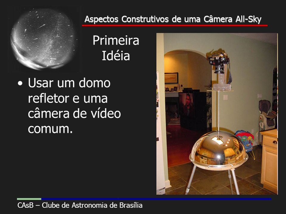Aspectos Construtivos de uma Câmera All-Sky CAsB – Clube de Astronomia de Brasília Aspectos Construtivos de uma Câmera All-Sky Primeira Idéia Usar um domo refletor e uma câmera de vídeo comum.