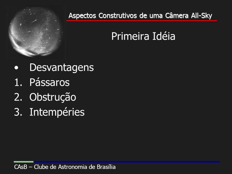 Aspectos Construtivos de uma Câmera All-Sky CAsB – Clube de Astronomia de Brasília Aspectos Construtivos de uma Câmera All-Sky Primeira Idéia Desvantagens 1.Pássaros 2.Obstrução 3.Intempéries